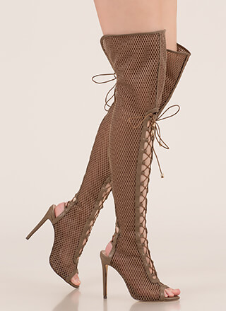 5f1f15d9830 Lace Me Up Netted Mesh Thigh-High Boots
