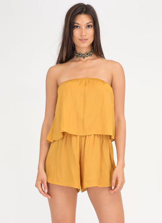Major Moment Draped Strapless Romper