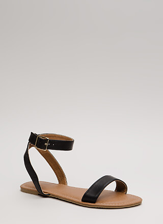Clean Cut Buckled Strappy Sandals