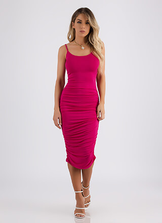 Ruche Hour Bodycon Midi Dress