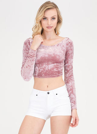 Crushed It Velvet Wide Neck Crop Top