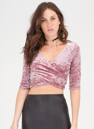 Wrap Party Crushed Velvet Crop Top