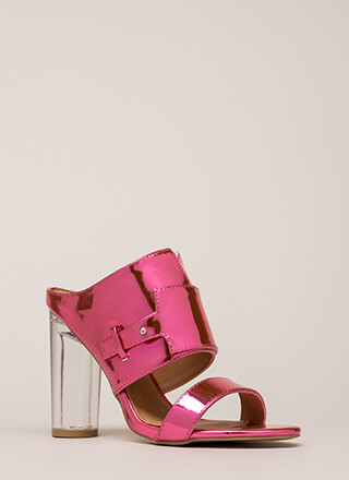 Gleam Up Clear Chunky Mule Heels