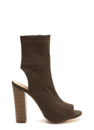 Slayer Chunky Cut-Out Peep-Toe Booties