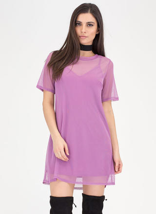 Inside And Out Sheer Mesh T-Shirt Dress