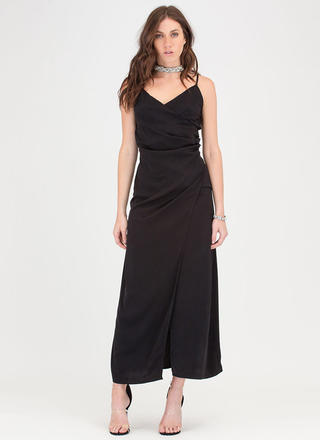 Wrap Game Strong Flowy Maxi Dress