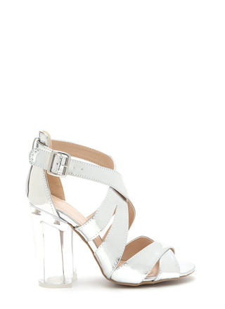 Clear Winner Chunky Metallic Heels