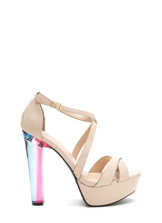 What A Trip Faux Patent Lucite Heels