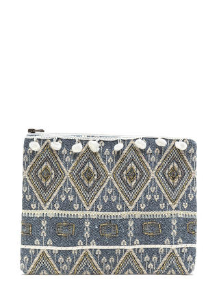 Festival Feels Beaded Pom-Pom Clutch