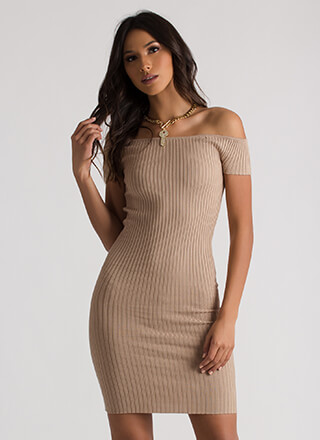 Simply Ribbed Off-Shoulder Midi Dress