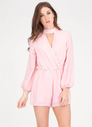 Silky Way Collared Surplice Romper