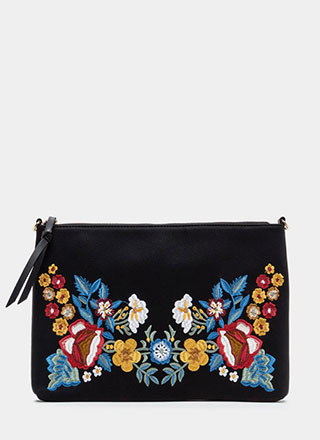 Flower Up Embroidered Rectangle Clutch