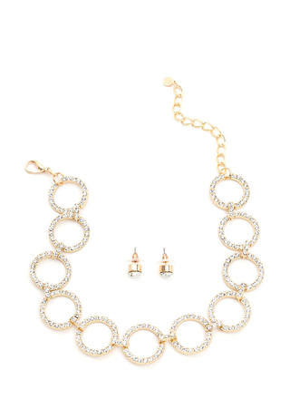 Ring Together Faux Jewel Necklace Set