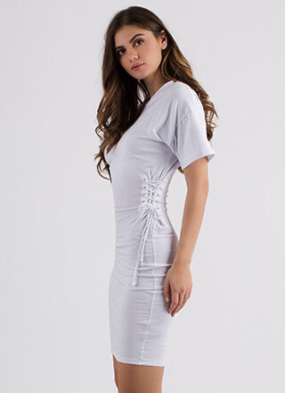 Two On The Side Lace-Up Midi Dress