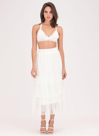 Sheer Style Genius Tiered Midi Skirt