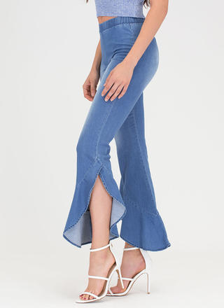 Retro Ruffles Chambray Bell-Bottoms