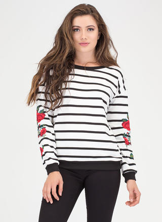 Wear Your Flowers Striped Sweatshirt