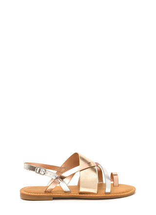 Cross Paths Strappy Metallic Sandals