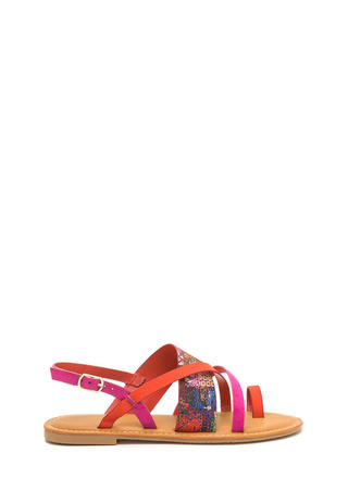 Cross Paths Strappy Abstract Sandals