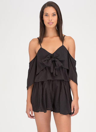 Short 'N Sweet Tied Off-Shoulder Romper