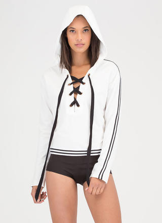 At Leisure Lace-Up Striped Hooded Top