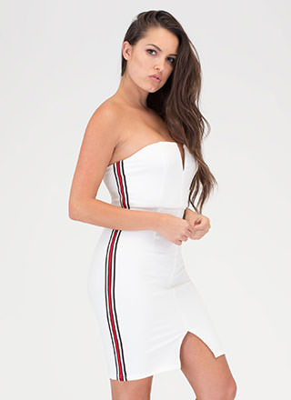 Sporty Chic Striped Strapless Minidress