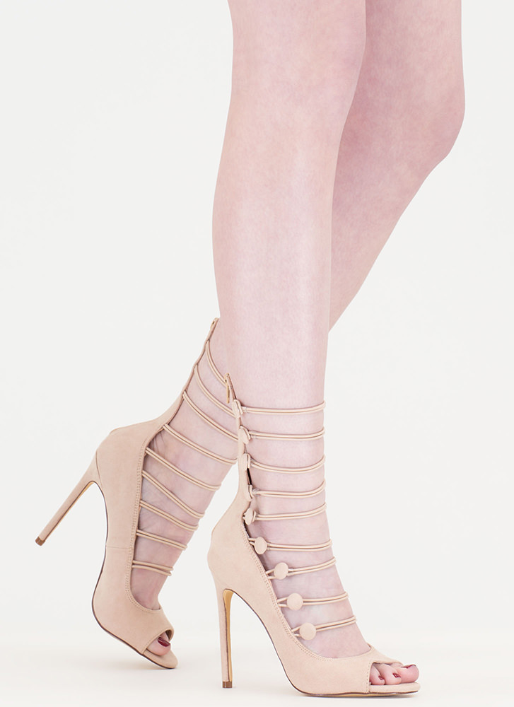 Fashion Fantasy Caged Faux Suede Heels