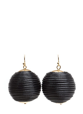 Right Cord Wrapped Ball Earrings