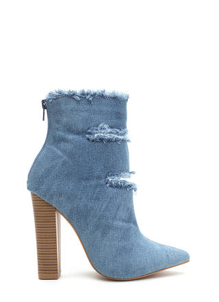 In The Jeans Distressed Chunky Booties