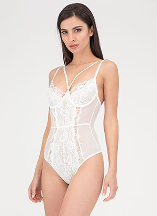 Flawless Lace Sheer Bustier Bodysuit