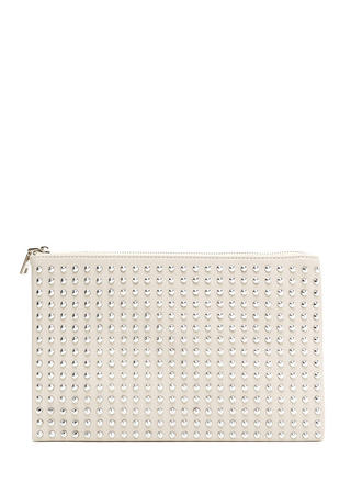 Refined Punk Studded Faux Leather Clutch