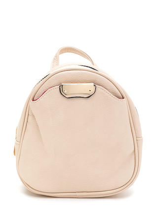 Small Scale Faux Leather Mini Backpack