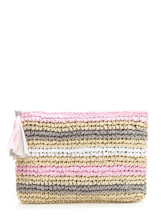 Easy Story Striped Raffia Clutch