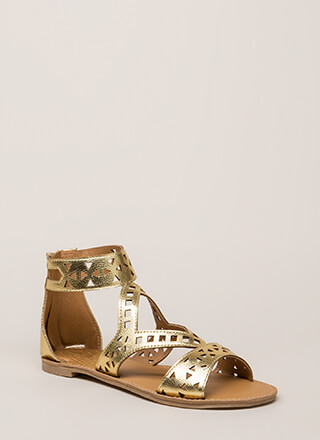 Shape Up Cut-Out Metallic Sandals