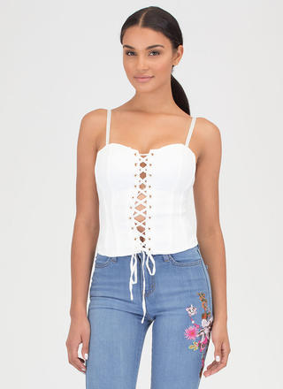 Bring The Drama Lace-Up Bustier Top