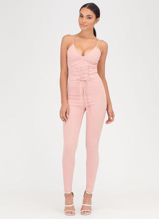 Tie In Plunging Corset Jumpsuit