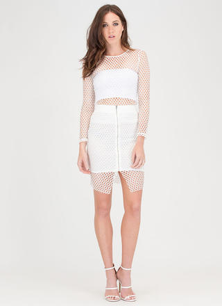 The Hole Thing Mesh Top And Skirt Set