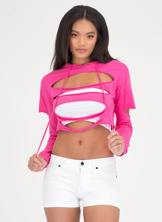 Hole Thing Distressed Cropped Hoodie