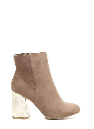 Signature Look Chunky Faux Suede Booties