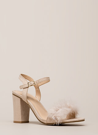 Fair Feathers Faux Suede Block Heels