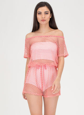 Safety Net Off-Shoulder Sheer Romper
