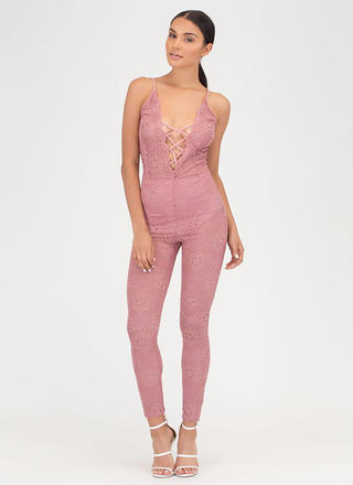 Romantic Allure Tied Lace Jumpsuit