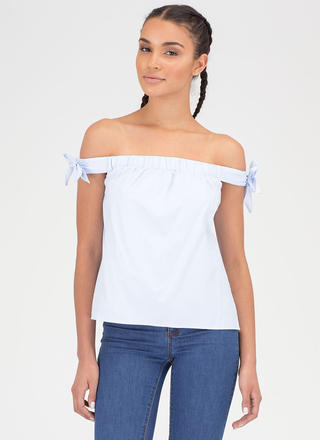 Bow On Then Flared Off-Shoulder Top