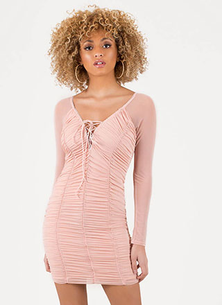 Ruche By Sheer Lace-Up Minidress