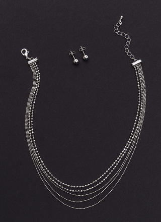 Minimal Glitz Layered Necklace Set