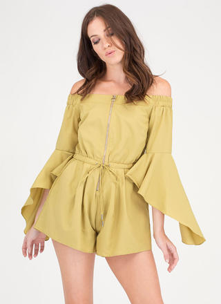 Ring The Bell Sleeve Off-Shoulder Romper