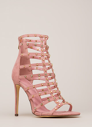 Stud-y Hard Caged Embellished Heels