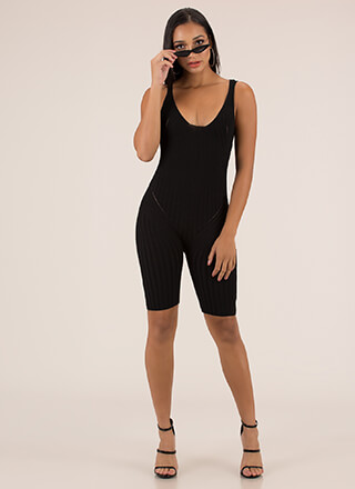 Slay Time Cropped Rib Knit Jumpsuit