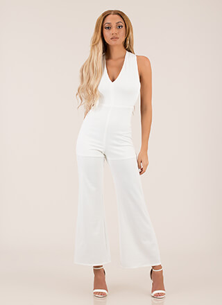 Cross Walk Plunging Palazzo Jumpsuit