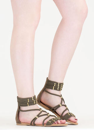 Rope You In Strappy Caged Sandals